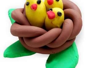 Гніздо з пташенятами з пластиліну фото