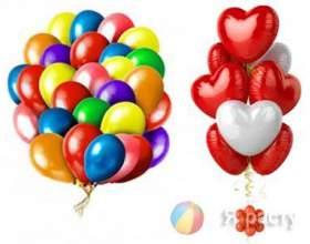Різноманітність букетів з повітряних кульок фото